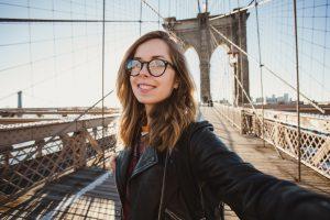 Beautiful,Hipster,Girl,In,Glasses,Takes,Selfie,Self-portrait,On,Brooklyn